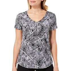 Dept 222 Petite Palm Leaf Tropical Short Sleeve Top