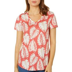 Dept 222 Petite Palm Leaf Print Slub Knit Top