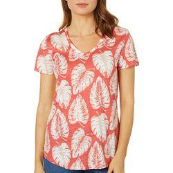 Dept 222 Petite Palm Leaf Print Slub Knit Top