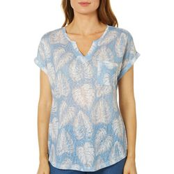 Dept 222 Petite Tropical Palm Print Cuff Sleeve Top