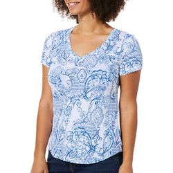 Dept 222 Petite Paisley Short Sleeve V-Neck Top