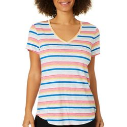 Dept 222 Petite Heathered Striped Short Sleeve Top