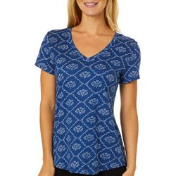 Dept 222 Petite Dotted Peony V-Neck T-Shirt