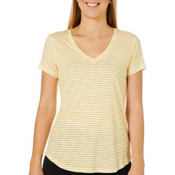 Dept 222 Petite Basic Striped V-Neck Top