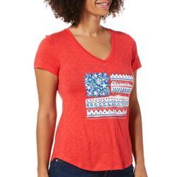 Dept 222 Petite Mixed Flag Screen Print V-Neck Top