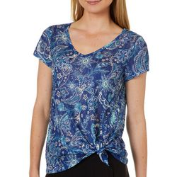 Dept 222 Petite Floral Paisley Side Tie Top