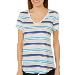Dept 222 Petite Colorful Striped V-Neck Top