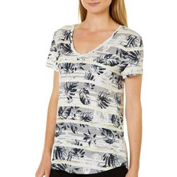 Dept 222 Petite Feather Stripe Print Slub Knit Top