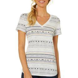 Dept 222 Petite Geometric Stripe Print V-Neck T-Shirt