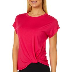 Dept 222 Petite Solid Knot Front Short Sleeve Top