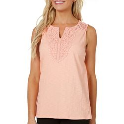 Dept 222 Petite Lace Yoke Sleeveless Top