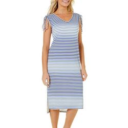 Dept 222 Petite Stripe Print Ruched Shoulder Sundress