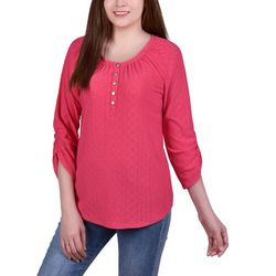 NY Collection Petite Eyelet Knit Henley Top