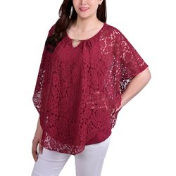 NY Collection Petite Floral Lace Knit Poncho Top