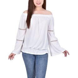 NY Collection Petite Swiss Dot Off The Shoulder Blouse