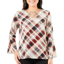 NY Collection Petite Plaid Lace-Up Bell Sleeve Top