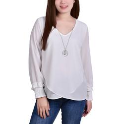 Petite Overlapping Hem Necklace Top