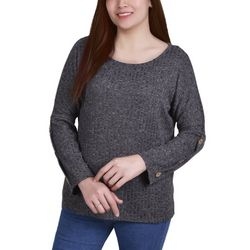 NY Collection Petite Button Sleeve Top