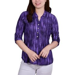 NY Collection Petite Front Pleated Y Neck Blouse