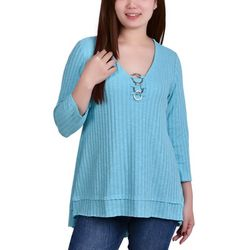 NY Collection Petite 3-Ring Rib Knit Tunic