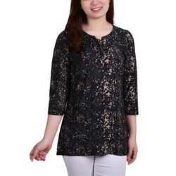 NY Collection Petite Lace Up Front Blouse