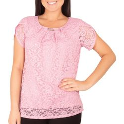 NY Collection Petite Tulip Sleeve Lace Top