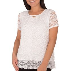 NY Collection Petite Jewel Neck Lace Short Sleeve Top