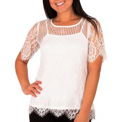 NY Collection Petite Jewel Neck Elbow Sleeve Lace