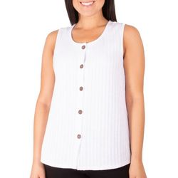 NY Collection Petite Sleeveless Button Front Top