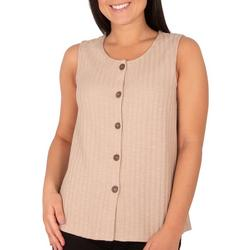 Petite Sleeveless Button Front Top