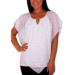 NY Collection Petite Clipdot Hardware Poncho Top