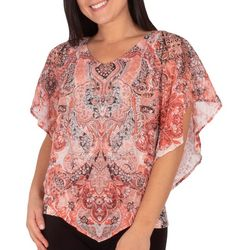 NY Collection Petite Paisley Hardware Poncho Top