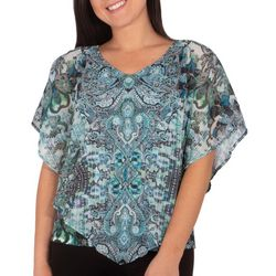 NY Collection Petite Paisley Nailheads Poncho Top