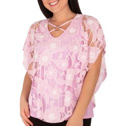 NY Collection Petite Peony Flower Puff Print Poncho Top