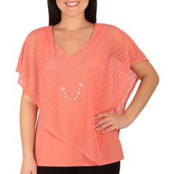 NY Collection Petite Mix Combo Burnout Poncho Top