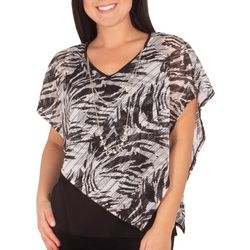 NY Collection Petite Zebra Burnout Poncho Top