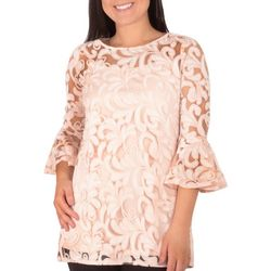 NY Collection Petite Lace Bell Sleeve Tunic