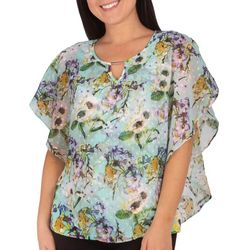NY Collection Petite Floral Bloom Poncho Top