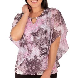 NY Collection Petite Digi Medal Poncho Top