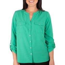 NY Collection Petite Ruched Tab Sleeve Blouse