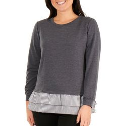NY Collection Petite Peplum Ruffle Sweatshirt