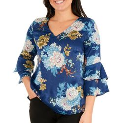 NY Collection Petite Peplum Bell Sleeve Top