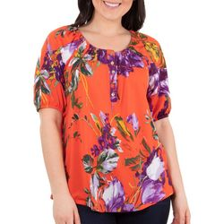 NY Collection Petite Floral Scoon neck Peasant Top