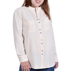 Plus Button Down Mandarin Collar Blouse