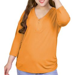 NY Collection Plus V Neck Zip Blouse