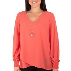 NY Collection Petite Overlapping Hem Necklace Top