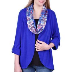 NY Collection Petite Printed Scarf & Cardigan Trio