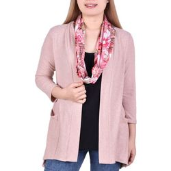 NY Collection Petite Scarf Top & Cardigan Trip