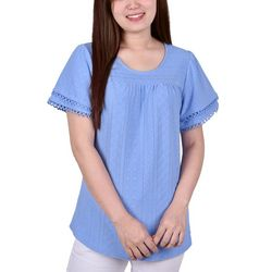 NY Collection Petite Double Bell Sleeve Eyelet Top
