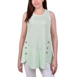 NY Collection Petite Side Button Rib Knit Sleeveless Top